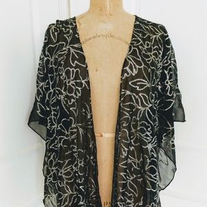 Black Sheer Evening Wrap with Gold Sequins